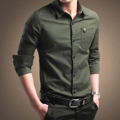 2021 spring men's shirts, long sleeves, pure cotton, Oxford spun shirts, young men's business, inch inch shirts, Korean style